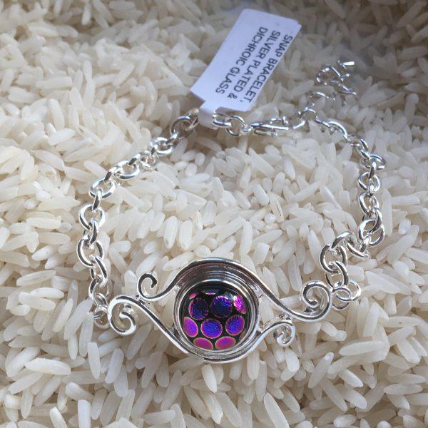 Dichroic Glass Bracelet - Tiny Snap - Purple dots