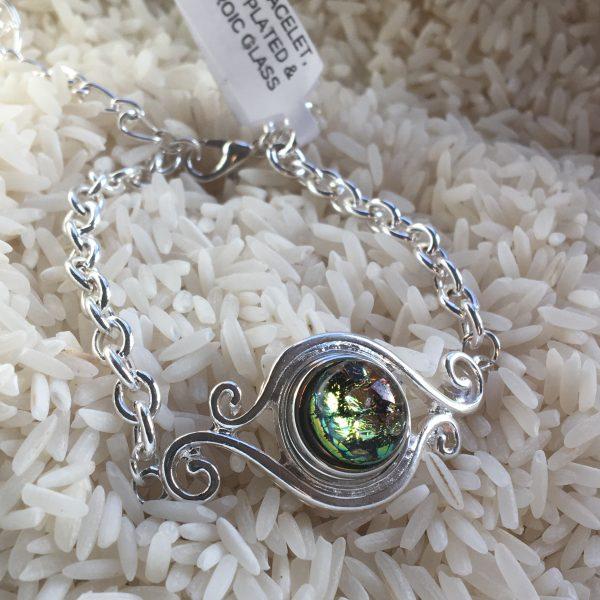 Dichroic Glass Bracelet - Tiny Snap - Golden Eye